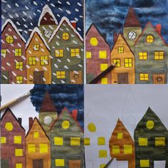 """""""SNOW-DRIVING"""" ❄ Pure-Dour-Contrast 🖌🎨 Here's an idea for the coming Advent or winter time 🎄☃️ … I already introduced the step-by-step instructions last year 🖌🎨 [. Art For Kids, Crafts For Kids, Arts And Crafts, Art Education Lessons, Winter Art Projects, Hello Winter, Ecole Art, Winter Painting, Art Lesson Plans"""