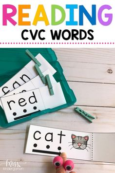 Make teaching CVC words fun with clips and blending cards. Students slide and reveal the short a words. These activities are great for struggling readers both in kindergarten and first grade and help them use their phonics strategies while reading.  #blendingsounds #CVCwords #readandreveal