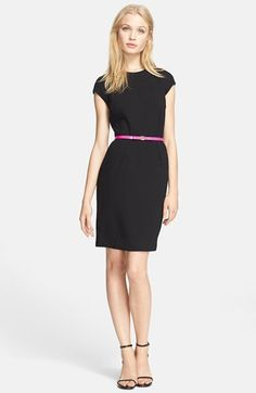 Free shipping and returns on Ted Baker London 'Pleated Petal' Print Cape Back Belted Sheath Dress at Nordstrom.com. Focused by a glossy Ted Baker-branded belt, this cap-sleeve sheath is simply classic from the front, but opens to a split cape back revealing a lush print. Clean pleats sculpt the figure-following silhouette.