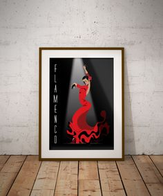 Poster Flamenco Arte digitale di TeaTimeMilanoPrints su Etsy