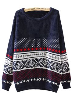 Navy Long Sleeve Diamond Patterned Loose Sweater US$26.79