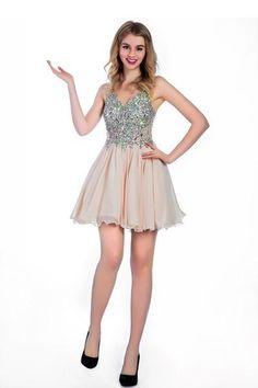 AHC031 Fleshcolor Chiffon V-neck Prom/Homecoming Dresses Sexy Bridesmaid Dress ,Cheap Prom Dress