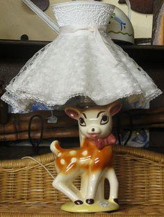 What a fabulously cute vintage porcelain deer lamp! #vintage #home #decor #deer #kitsch #kitschy #cute
