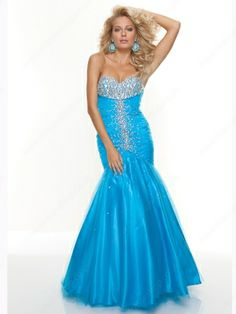 Trumpet/Mermaid Sweetheart Tulle Floor-length Sleeveless Rhinestone Prom Dresses -£133.99