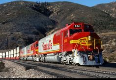 RailPictures.Net Foto: ATSF 104 Atchison, Topeka e Santa Fé (ATSF) EMD FP45 no Blue Cut, California por Bob Hanggie