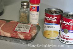 This recipe calls for pork chops, but I used to do it with chicken and then just serve it with noodles. I made this and it's actually amazing with chicken ! Crock Pot Food, Crockpot Dishes, Pork Dishes, Slow Cooker Recipes, Crockpot Recipes, Cooking Recipes, Meal Recipes, Pork Chop Recipes, Chicken Recipes
