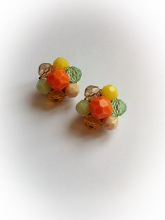 Vintage W Germany Earrings Plastic Citrus Clip Ons by ArtDecoDame