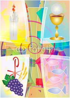 First Communion Eucharist symbol of bread and wine, chalice and host, with grapes and wheat , cross, fish and candle. Colorful modern abstract vector illustration