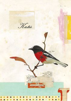 KATIE, Collage and oil pastel on envelope, 2007 by Kareem Rizk
