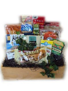 Fathers Day gift basket, Father's Day gift ideas, Fathers Day gift baskets, snacks, chocolate, nuts, brownie, cookies. $75  http://www.oldtimechocolates.com/store/fathers-day-gift-baskets/heart-healthy-fathers-day-gift-basket-777700000403020/