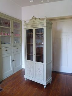 A pretty painted French Art Deco armoire. Dating from the this offers fantastic storage in an elegant and compact design. French Armoire, French Mirror, French Art, Glazed Glass, Antique Paint, Cupboards, Adjustable Shelving, Wardrobes, French Antiques