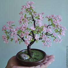 Купить Дерево из бисера Сакура (мини) 2 - розовый, сакура, Дерево из бисера, дерево любви