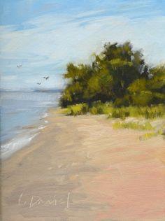 Wind Point Beach - Racine, Wisconsin, painting by artist Laurel Daniel