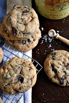 Chunky Peanut Butter Chocolate Cookies with Fleur de Sel