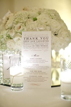 Thank You Menus as seen on Style Me Pretty Sample by yourhinote. , via Etsy. Wedding Table, Wedding Blog, Wedding Events, Wedding Reception, Our Wedding, Dream Wedding, Wedding Ideas, Reception Table, Wedding Suite