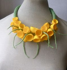 Felt necklace necklace with cocoons floral accessories от jurooma