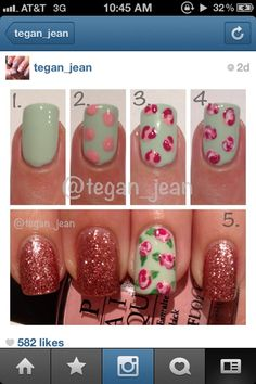 how to: floral nail design  DIY; I don't like it with the glitter, but I do like it as an accent nail