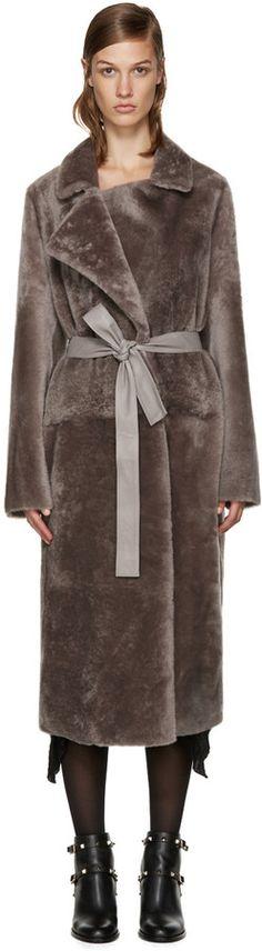 Yves Salomon Reversible Grey Fur Coat
