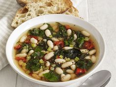White Bean-Chard Soup : Roasted red peppers give this vegetable-laden soup its smoky flavor. Serve with garlic-rubbed sourdough for the perfect rustic Italian supper. Swiss Chard Soup Recipe, White Bean Soup, White Beans, Healthy Soup Recipes, Cooking Recipes, Healthy Meals, Cooking Food, Meal Recipes, Family Recipes