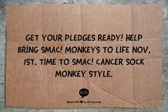 Get your pledges ready! Help bring SMAC! monkeys to life Nov. 1st.   Time to SMAC! cancer sock monkey style.