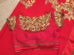 designer saree with gota work embroidery blouse