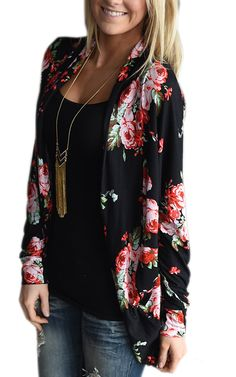 The gorgeous floral print will make this your favorite cardi! * Material: 85% Polyester; 15% Cotton. * Color Options: black, blue, green. * Floral print. * Long sleeves. * Flowy, loose fit style. * High neck that wraps around. * Nice long length- same length in the front and black.