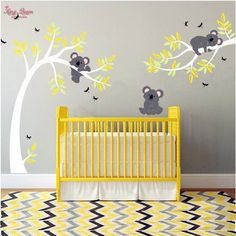Koala And Branch Wall Sticker Koala Tree Wall Decal With Dragonflies Koala Bear Wall Decal for Baby Nursery, Kids, Children Room Baby Bedroom, Baby Room Decor, Nursery Room, Girl Nursery, Nursery Themes, Nursery Decor, Nursery Ideas, Room Ideas, Wall Sticker