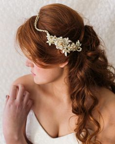 {Natalia} Gold & Ivory Beaded Rhinestone Bridal Headpiece by RomanticARTlife | Photography by Noi Tran
