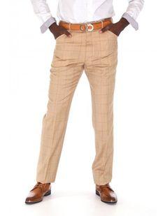 Beige Hi Twist Italian Men's Pants by Giovanni Marquez