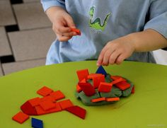Combine pattern blocks with play dough for new creative possibilities!