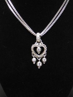 Judith Ripka Sterling Silver Double Box Chain and Heart Enhancer Necklace #JudithRipka #Chain