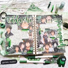 for more anime spreads follow me on ig @moonayyie Bullet Journal Japan, Bullet Journal Notes, Bullet Journal Aesthetic, Bullet Journal Writing, Bullet Journal Ideas Pages, Bullet Journal Inspiration, Journal Pages, Instruções Origami, Kunstjournal Inspiration