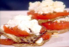Grilled Eggplant, Tomato and Feta Stacks from FoodNetwork.com- I leave the skin on my eggplant though :)
