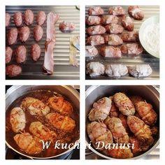 ZRAZY ZAWIJANE Z MIELONEGO MIĘSA Polish Recipes, New Recipes, Cooking Recipes, Sausage, Muffin, Pork, Food And Drink, Veggies, Meals