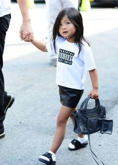 Rocking 2013 Fashion Week, baby Jordans and all.  #Aila #Wang. #estella #kids #fashion
