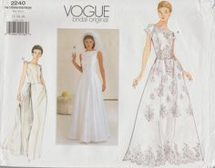 This Vogue sewing pattern was designed in 1999. It makes an elegant full length gown with an attached petticoat with ruffles or a slim skirt version with a detachable train. Sizes 12-14-16: Bust 34 to 38 --- Waist 26 1/2 to 30 --- Hip 36 to 40. It is unused and still in factory folds. The instructions and brochure are present. The envelope is in good condition.  To see more bridal sewing patterns: https://www.etsy.com/shop/studioGpatterns?section_id=7331057&ref=shopsection_leftnav_6  To…