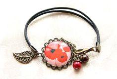 bracelet cabochon rétro vintage bronze, cuir, cabochon coquelicot n.04 : Bracelet par naifane-bijoux