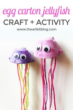 Egg Carton Jellyfish Puppets – Easy and Fun Painting Craft for Kids - Upcycled Crafts Painting Crafts For Kids, Yarn Crafts For Kids, Toddler Crafts, Preschool Crafts, Art For Kids, Craft Activities, Super Easy Crafts For Kids, Diy Kids Paint, Baby Crafts