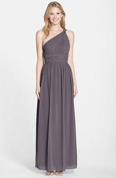 Donna Morgan  Rachel  Ruched One-Shoulder Chiffon Gown  0b8b60af231d