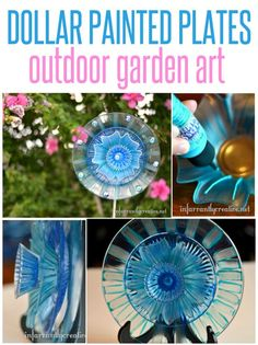 Repurpose glass plates from the dollar store into pretty flower art for your garden. This is an easy craft that even kids can do!