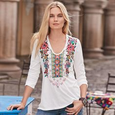 """CILVA TOP--This super soft, knit top is covered with lush embroidery all over the front and at back yoke. Deep scoop neck. Polyester/cotton. Machine wash. Imported. Sundance exclusive. Sizes XS (2), S (4 to 6), M (8 to 10), L (12 to 14), XL (16). Approx. 26-3/8""""L."""
