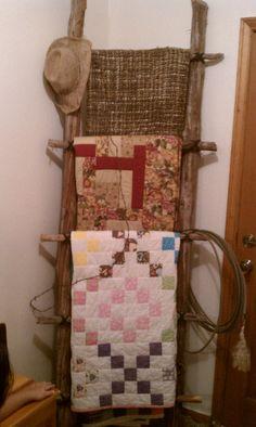Rustic Ladder Quilt Rack