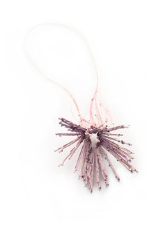Pastel pink, textured necklace crafted from hairpins + glass, polyester resin and horsehair - contemporary jewellery design; art jewelry // Adam Grinovich