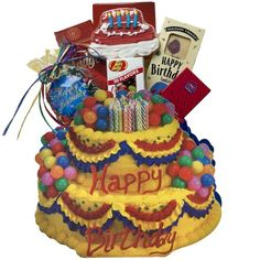 Art of Appreciation Gift Baskets Happy Birthday Gift Bag Tote : Gourmet Gift Items : Grocery & Gourmet Food Birthday Cake Gift, Colorful Birthday Cake, Birthday Gift Baskets, Birthday Gifts For Husband, Happy Birthday Gifts, Birthday Parties, Holiday Gift Baskets, Gourmet Gift Baskets, Gourmet Gifts