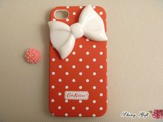 Unique iPhone 4 case cute iPhone 4s case, iPhone cover, customize white bow iPhone 4/4s case