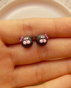 This is a cute pair of earrings created from polymer clay without molds or forms, with tiny black cats. The lenght of each earring is 1.2 cm. ❀ Because i make everything by hand, the item you receive may differ slightly than shown on the pictures. ❀ Price is for one pair of earrings. ❀ I