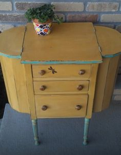 Added touch to the porch Antique Martha Washington sewing cabinet
