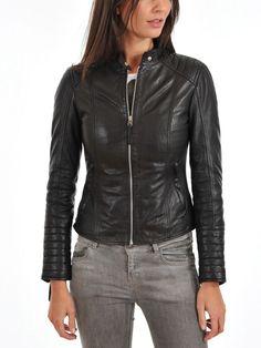 Women Stylish slim fit front zip Lambskin Bomber Biker leather jacket WJ337 #Handmade #BasicJacket