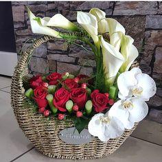 Designer Choice at Oceana Florists. Your local flower shop. Basket Flower Arrangements, Creative Flower Arrangements, Flower Arrangement Designs, Beautiful Flower Arrangements, Table Flowers, Fresh Flowers, Flower Designs, Floral Arrangements, Beautiful Flowers