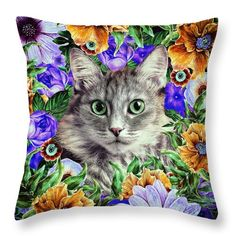 Oksana Ariskina Throw Pillow featuring the digital art Cat In Flowers. Spring by Oksana Ariskina  #OksanaAriskina #OksanaAriskinaFineArtPhotography #FineArtPhotography #HomeDecor #FineArtPrint #PrintsForSale #Cat #Illustration #Cushion #Pillow #Flowers #Spring